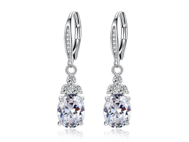 Authentic White Blue Crystal Anti Allergic Environmentally Fashion Copper Zircon Jewelry Drop Earring Newegg Com