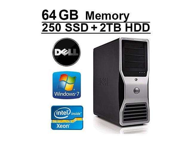 Dell Precision T7400 Workstation - 64GB Memory - 2X Intel Xeon Quad Core  2 0GHz - NEW 2TB HDD + NEW 250 Solid State Drive - WIFI - 4 Monitor Capable  -
