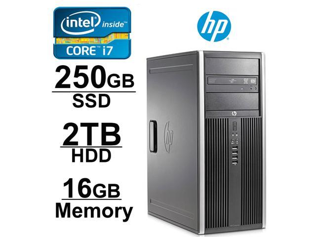 Hp Elite 8200 Desktop Workstation Intel Core i7 3.4GHz | 2TB HDD + 250 SSD | 16GB DDR3 Memory | Dual Monitor Capable with 1GB Video Card | Windows 7 Professional
