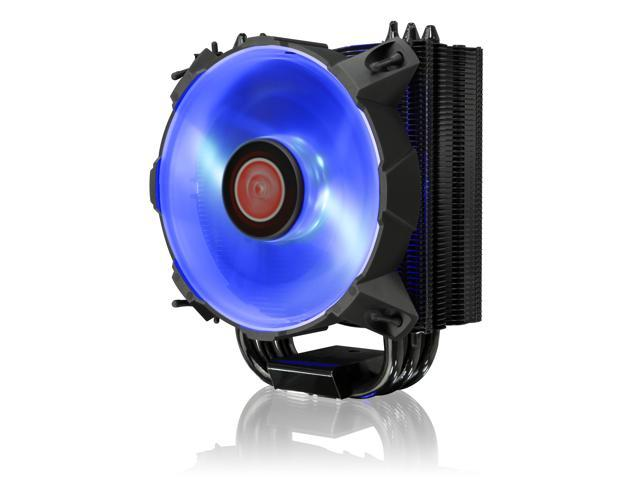 RAIJINTEK LETO B Slim CPU cooler with 12025 Blue LED PWM fan and black coating