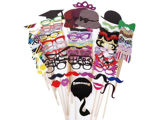 76pcs Wooden A Stick Mustache Red Lips Photo Booth Props Wedding