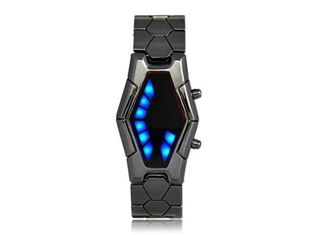 Flash Led Men S Sports Car Meter Dial Stainless Steel Rubber Band