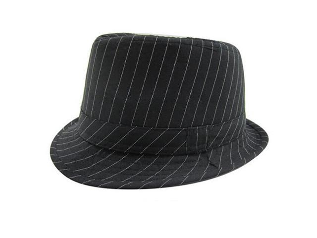 5f71aba8595 Baby Cap Kid Hat Mixing Style Jazz Cap Trilby-Black Fine Stripes ...