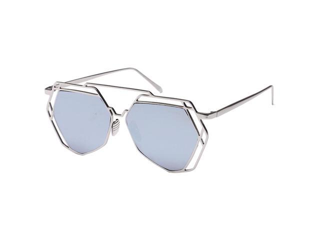 Thzy Retro Hollow Out Polygon Sunglasses Silver Frame White