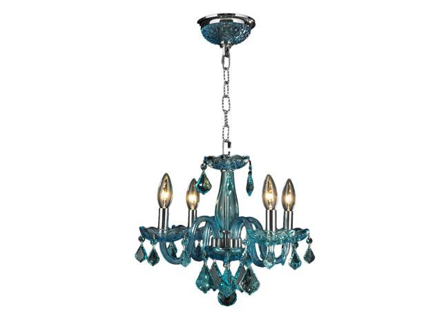 Clarion Collection 4 Light Chrome Finish And C Blue Crystal Chandelier Newegg