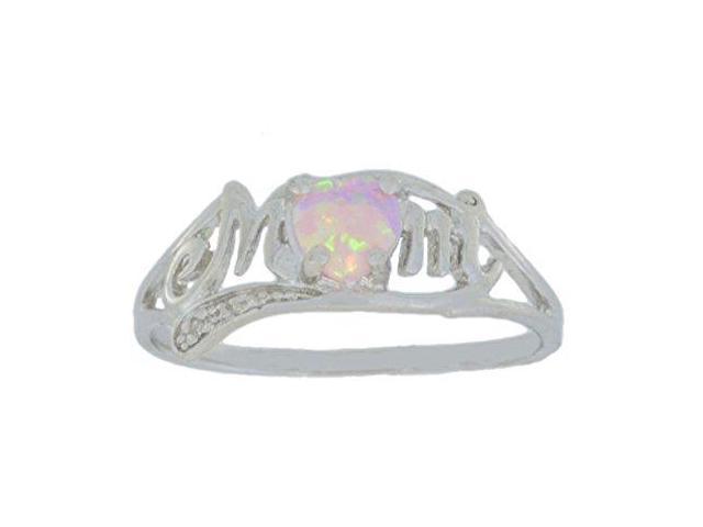 f9307ef416eef Pink Opal & Diamond Heart Mom Ring .925 Sterling Silver Rhodium Finish  [Jewelry] - Newegg.com