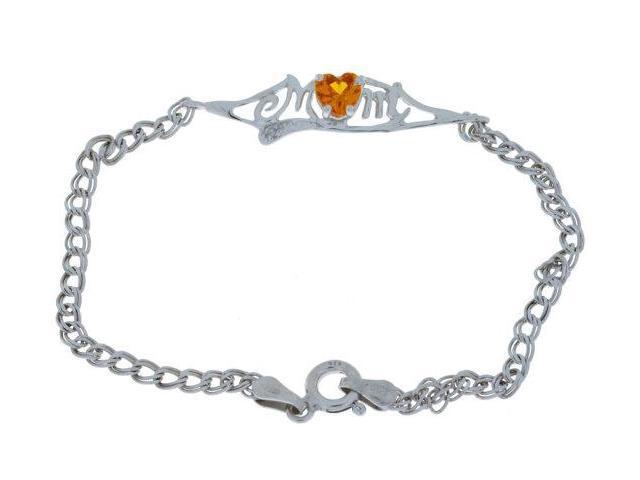 Black Opal 5mm Heart /& Diamond Mom Bracelet .925 Sterling Silver