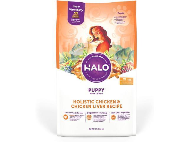 Halo Natural Dry Dog Food, Puppy Chicken & Chicken Liver Recipe