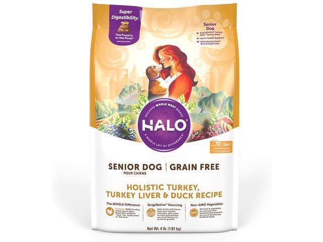 Halo Grain Free Natural Dry Dog Food, Senior Turkey, Turkey Liver & Duck Recipe
