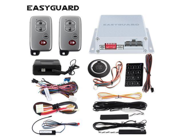 Push button on start PKE car alarm passive keyless entry with chip  immobilizer bypass, touch password entry window close output keyless go  system -