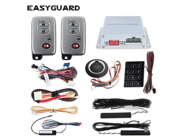 EASYGUARD EC002-FO Hopping Code Intelligent PKE RFID car Alarm System Push Engine Start Stop Button auto Lock Unlock car Door Remote Engine Starter Touch Password Entry