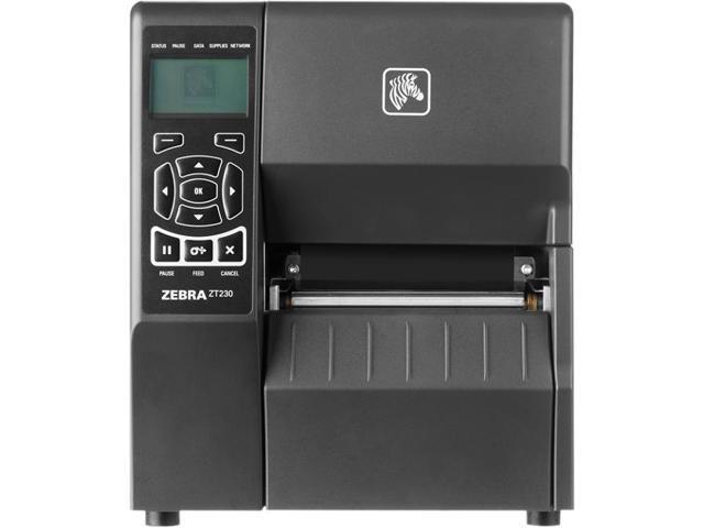 """Zebra ZT230 4"""" Industrial Thermal Transfer Label Printer, LCD, 203 dpi,  Serial, USB, ZebraNet n Print Server (US & CAN), Liner Take Up w/ Peel,  ZPL,"""