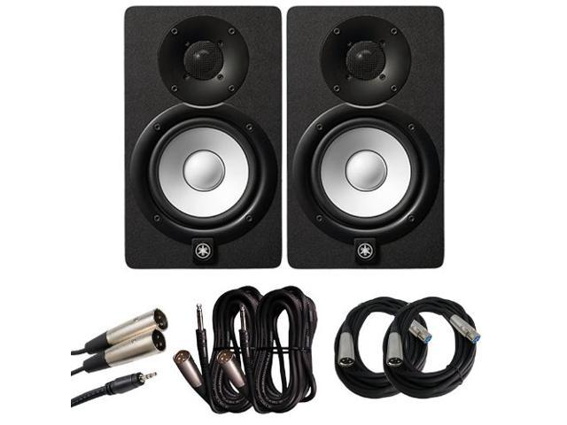 yamaha hs5 5 in studio monitor pair with xlr trs to xlr and 1 8 in to xlr cables bundle. Black Bedroom Furniture Sets. Home Design Ideas