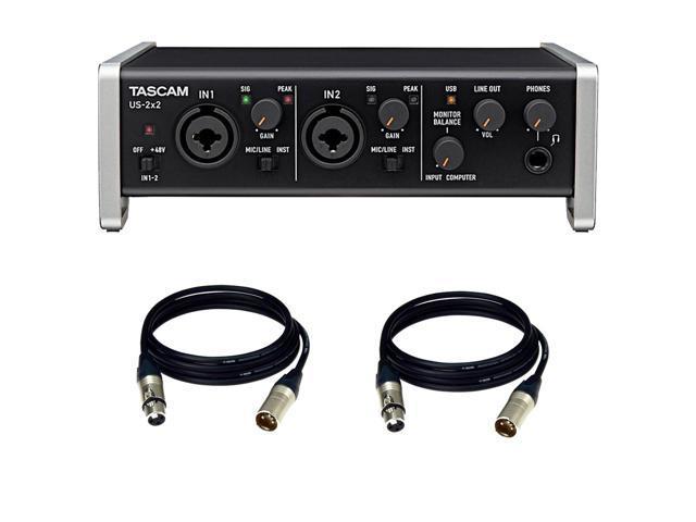 TASCAM US-2x2 USB 2 0 Audio MIDI Interface  FREE XLR Cables - Newegg com
