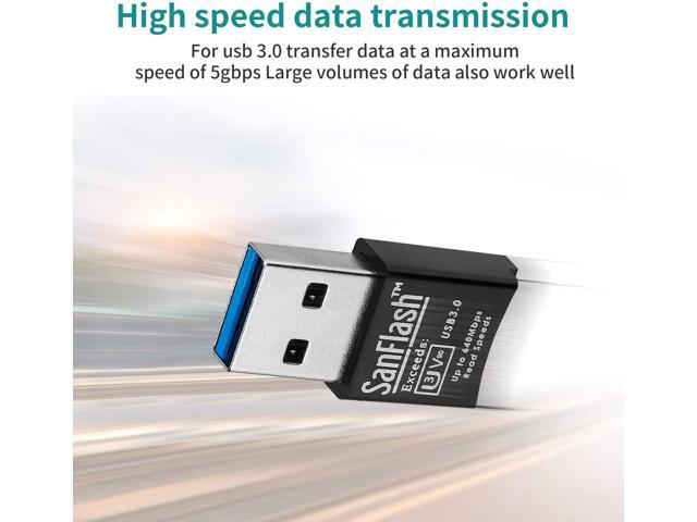 SanFlash PRO USB 3.0 Card Reader Works for BLU Life Play Adapter to Directly Read at 5Gbps Your MicroSDHC MicroSDXC Cards