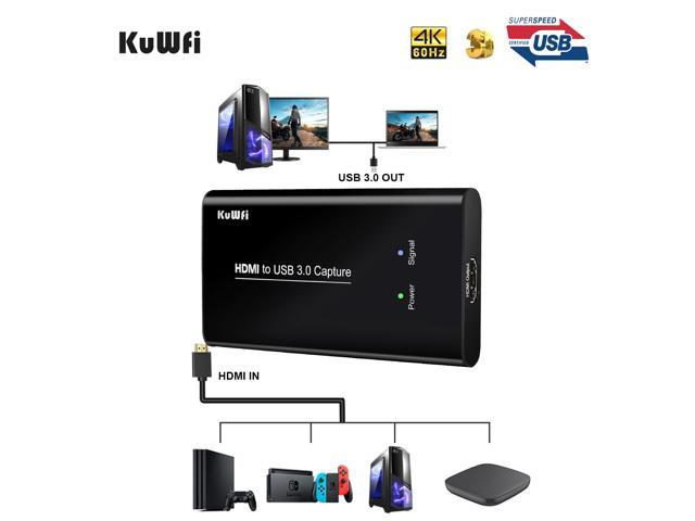 KuWFi HD Video Capture Device Card HDMI to USB3.0 HD Video Converters Game Streaming Live Stream Broadcast 1080P for OBS//Vmix//Wirecast//skype