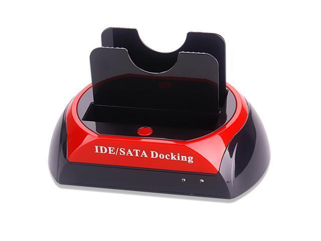 "2.5/"" 3.5/"" Dual IDE SATA OTB USB 2.0 HDD Docking Station LED Offline Copy US Plug"