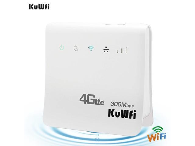 KuWfi CPE800 Unlocked 300Mbps Wifi Routers 4G LTE CPE Mobile Router with  LAN Port Support AT&T SIM card and Europe/Asia/Middle East/Africa -