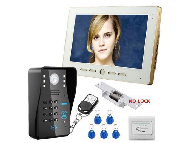 """NO-Electric Strike Door Lock 7/"""" TFT Video Intercom Doorbell RFID Password"""
