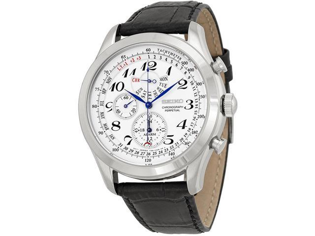 dee7c8796 Seiko Neo Classic SPC131 Men's Watch Alarm Perpetual Chronograph, Stainless  Steel, Quartz Movement, Leather Strap