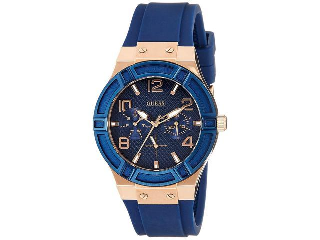 523ad5b47a4fb Guess Women s 39mm Blue Silicone Stainless Steel Case Quartz Date Watch  W0571L1