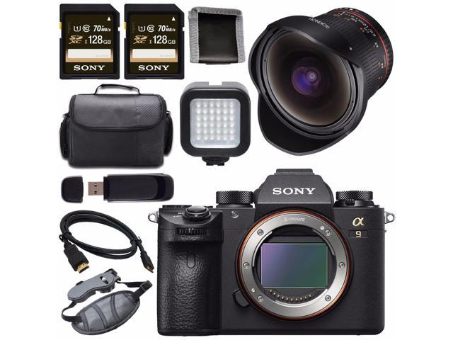 Sony Alpha a9 Mirrorless Digital Camera + Rokinon 12mm f/2 8 ED AS IF NCS  UMC Fisheye Lens for E Mount 128GB SDXC Card + HDMI + Carrying Case + LED