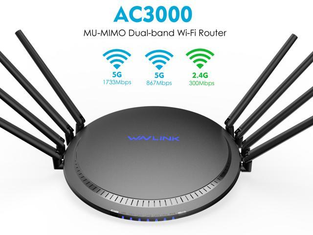Wavlink AC3000 Tri-Band WiFi Router Smart Gigabit Wireless Router with MU-MIMO, High Gain 8 x 5dBi Antennas, 4 x LAN Full Gigabit Ports, One USB3.0 Port, WPS & IP Qos, Game Router