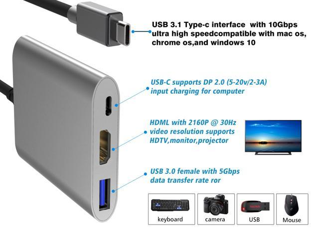2-Port Type C 5Gbps Power Delivery 3 USB Type C 3.1 Hub Dock Adapter 2 Port USB 3.0