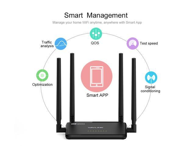 Wavlink Updated 529B3 AC1200 Wireless Router , Dual Band 2 4GHz & 5GHz IEEE  802 11ac/a/n/g/b WiFi Router - Share 4 x 5dBi High Power Antennas WPS