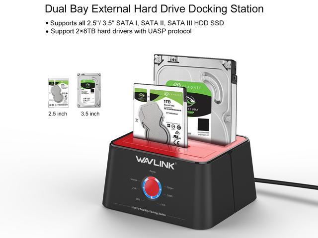 WAVLINK USB 3.0 to SATA Dual-Bay Hard Drive Docking Station WL-ST334U 5Gbps