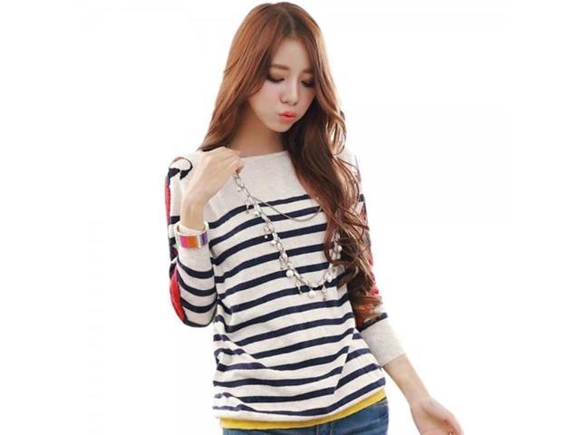 Korean Style Parrot Pattern Stripe Loose Fitting Long Sleeve Woman
