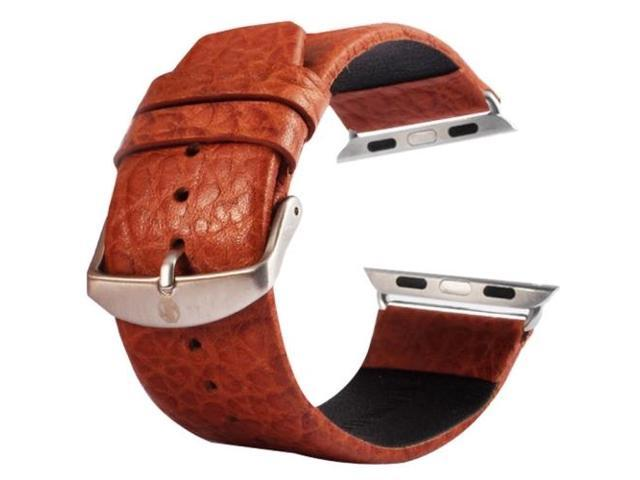 Kakapi Buffalo Hide Brushed Buckle Genuine Leather Watchband with Connector for Apple Watch 42mm (Brown
