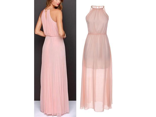 b4ad9571afdfd2 Summer Women Slim Halter Pleated Backless Sleeveless Chiffon Maxi Dress Pink  XL