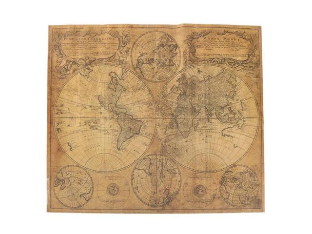 Large Paper World Map.62x52cm Old Retro Large World Map Vintage Antique Style Brown