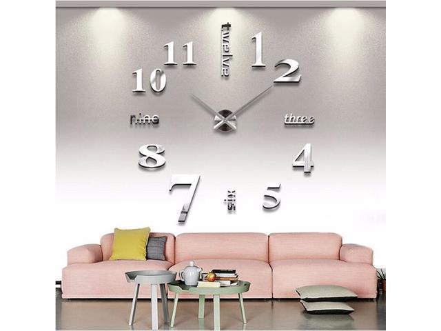 M Sparkling Large Mirror Wall Clock 3d Hanging Clock Bracket Clock Silver Newegg Com