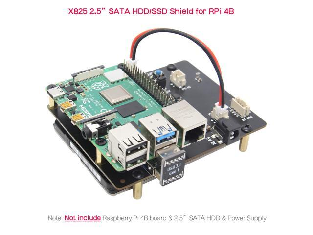 Raspberry Pi 4 Model B 2 5 inch SATA HDD/SSD Expansion Board X825 USB3 1  Shield Compatible with Raspberry Pi 4B Computer Only - Newegg com