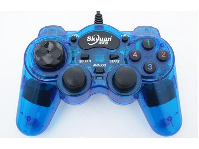 Glow Blue Wired USB Controller Gamepad PC Game Pad USB LED Wired ...