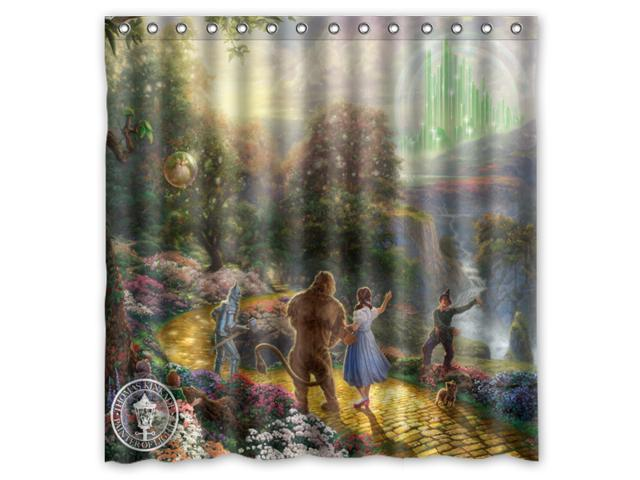 Thomas Kinkade Wizard Of Oz Design Polyester Fabric Bath Shower Curtain 180x180 Cm Waterproof And Mildewproof