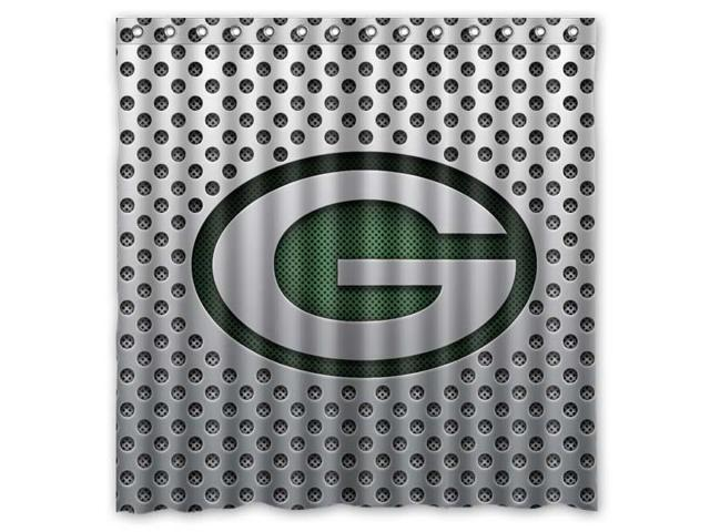 Green Bay Packers 01 NFL Design Polyester Fabric Bath Shower Curtain 180x180 Cm Waterproof And Mildewproof Curtains Pattern01