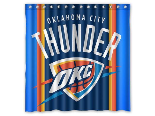 New Waterproof Oklahoma City Thunder Basket Ball Custom Shower Curtain 60 x 72 /""