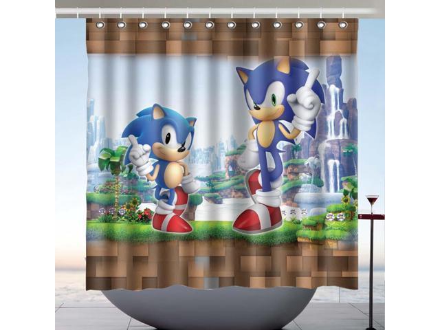 Sonic The Hedgehog 02 Design Polyester Fabric Bath Shower Curtain 180x180 Cm Newegg Com