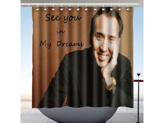 Nicolas Cage See You In My Dreams Design Polyester Fabric Bath Shower Curtain 180x180 CM