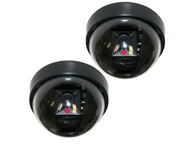 2 Pack Dummy SECURITY LED DOME CAMERA Flashing Light Fake Surveillance CCTV