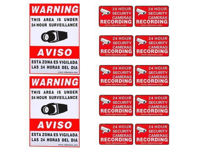 Videosecu Warning Sign 2 Large Decals 10 Small Stickers For Cctv