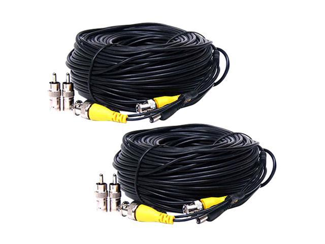4x 50ft Video Power Extension Cable CCTV BNC RCA Security Camera Wire Cord
