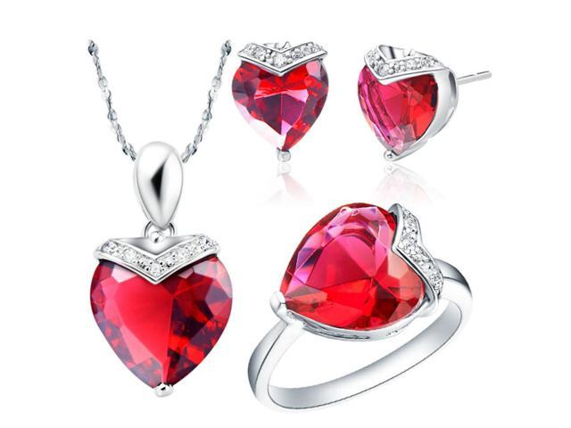 9fdab03c8 ... Cubic Zirconia Crystals Pendant Necklace Ring. Babao Jewelry Lovely Red  Heart 18k Platinum Plated Swarovski