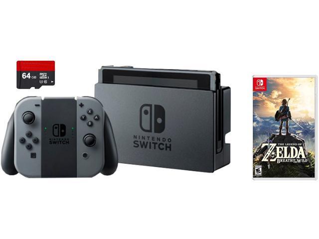 Nintendo Switch 3 items Game Bundle:Nintendo Switch 32GB Console Gray Joy-con,