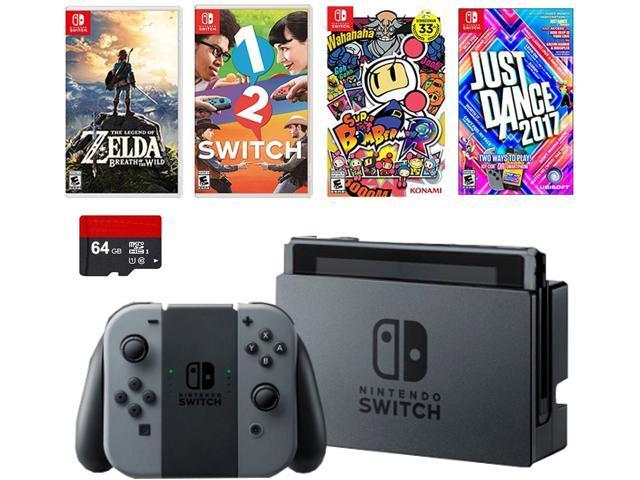 Nintendo Switch 6 items Deluxe Game Bundle:Nintendo Switch 32GB Console Gray Joy-con