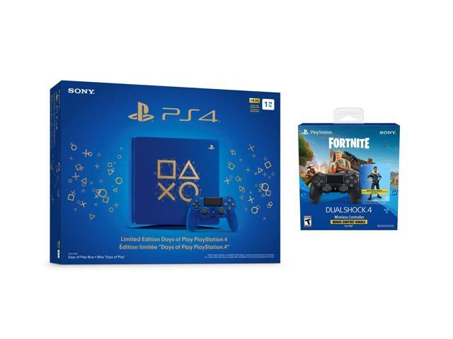Playstation 4 Fortnite Limited Bundle: Playstation Exclusive Royale Bomber  Outfit, 500 V-Bucks, Days of Play Limited Edition Slim 1 TB Console with