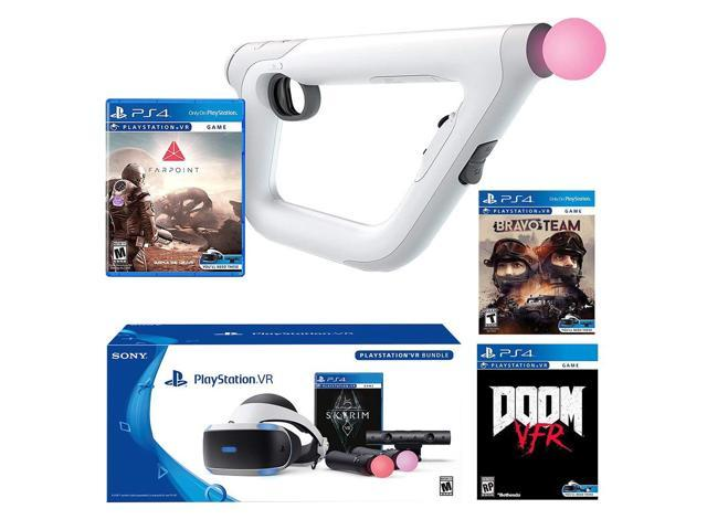 PlayStation VR FPS Deluxe Bundle (5 Items): PlayStation VR Skyrim Bundle,  PSVR Doom VFR Game, PSVR Bravo Team Game, PSVR Farpoint Game and PSVR Aim